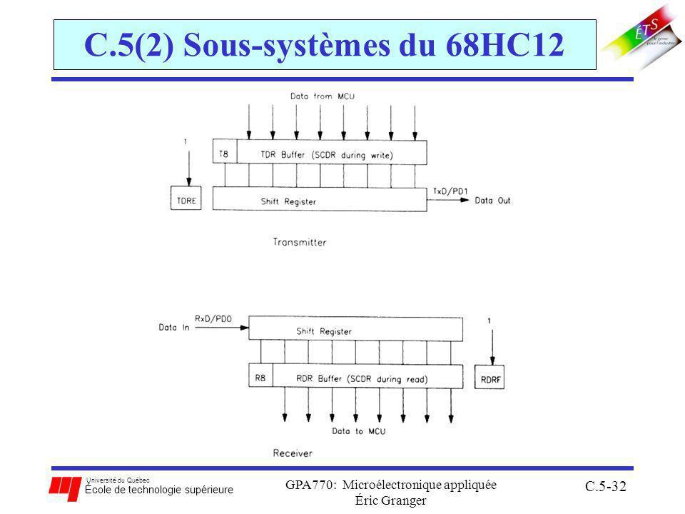 Université du Québec École de technologie supérieure GPA770: Microélectronique appliquée Éric Granger C.5-32 C.5(2) Sous-systèmes du 68HC12