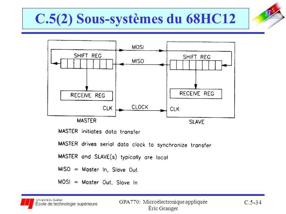 Université du Québec École de technologie supérieure GPA770: Microélectronique appliquée Éric Granger C.5-34 C.5(2) Sous-systèmes du 68HC12