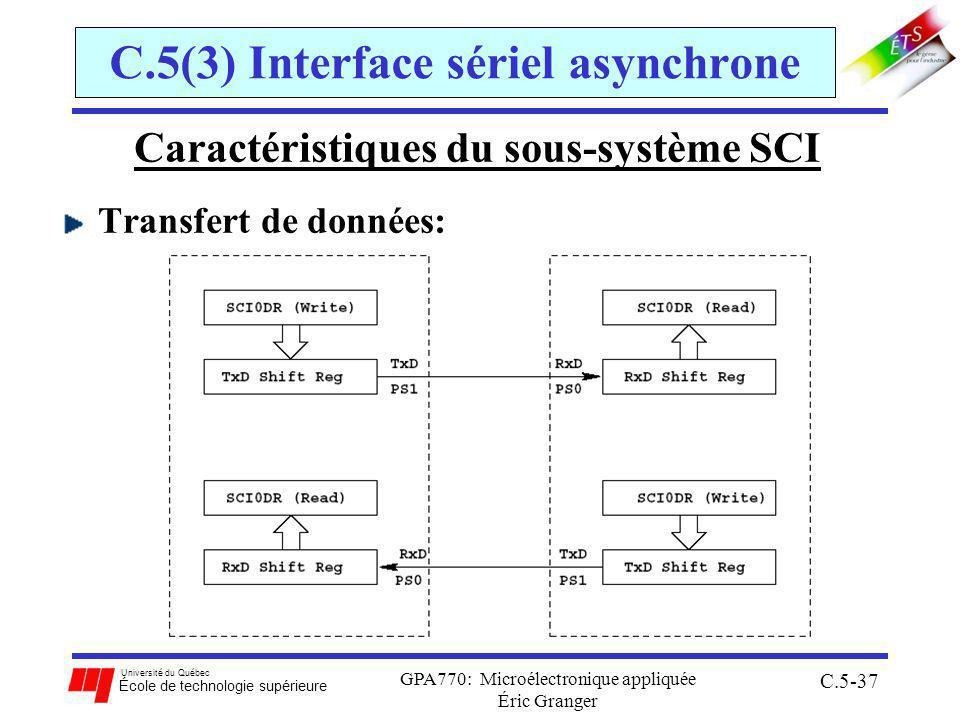 Université du Québec École de technologie supérieure GPA770: Microélectronique appliquée Éric Granger C.5-37 C.5(3) Interface sériel asynchrone Caractéristiques du sous-système SCI Transfert de données:
