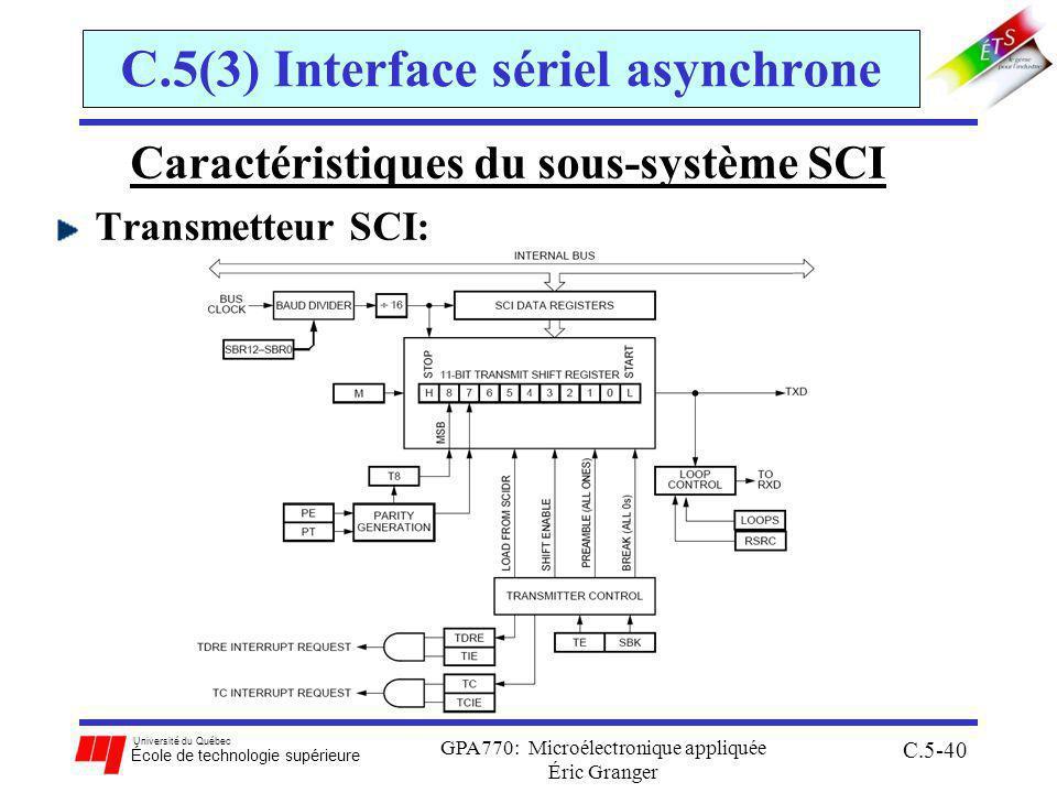 Université du Québec École de technologie supérieure GPA770: Microélectronique appliquée Éric Granger C.5-40 C.5(3) Interface sériel asynchrone Caractéristiques du sous-système SCI Transmetteur SCI: