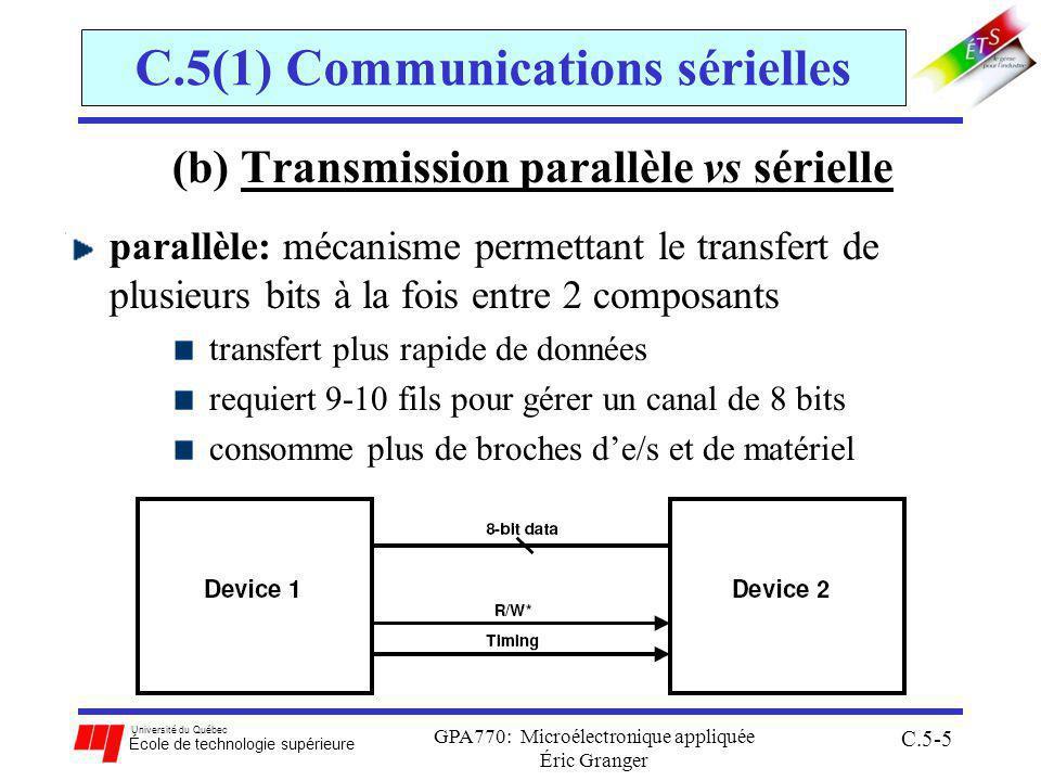 Université du Québec École de technologie supérieure GPA770: Microélectronique appliquée Éric Granger C.5-5 C.5(1) Communications sérielles (b) Transmission parallèle vs sérielle parallèle: mécanisme permettant le transfert de plusieurs bits à la fois entre 2 composants transfert plus rapide de données requiert 9-10 fils pour gérer un canal de 8 bits consomme plus de broches de/s et de matériel
