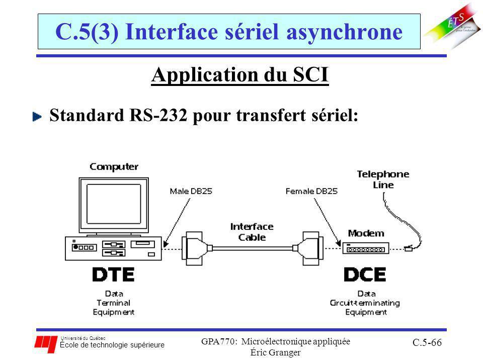 Université du Québec École de technologie supérieure GPA770: Microélectronique appliquée Éric Granger C.5-66 C.5(3) Interface sériel asynchrone Application du SCI Standard RS-232 pour transfert sériel: