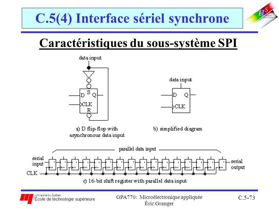 Université du Québec École de technologie supérieure GPA770: Microélectronique appliquée Éric Granger C.5-73 C.5(4) Interface sériel synchrone Caractéristiques du sous-système SPI