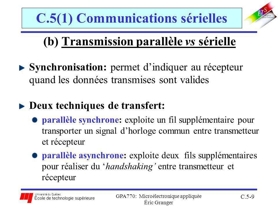 Université du Québec École de technologie supérieure GPA770: Microélectronique appliquée Éric Granger C.5-9 C.5(1) Communications sérielles (b) Transmission parallèle vs sérielle Synchronisation: permet dindiquer au récepteur quand les données transmises sont valides Deux techniques de transfert: parallèle synchrone: exploite un fil supplémentaire pour transporter un signal dhorloge commun entre transmetteur et récepteur parallèle asynchrone: exploite deux fils supplémentaires pour réaliser du handshaking entre transmetteur et récepteur