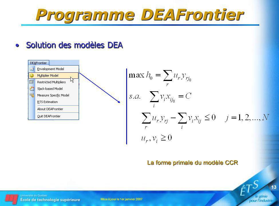 Mise à jour le 1er janvier 2007 13 Programme DEAFrontier Solution des modèles DEASolution des modèles DEA La forme primale du modèle CCR