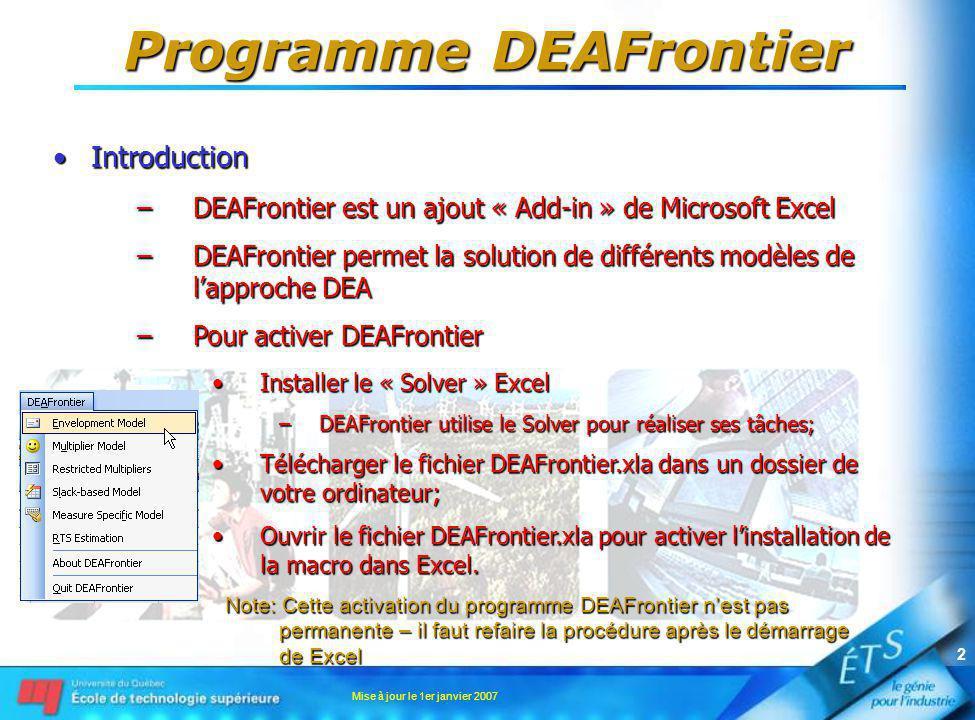 Mise à jour le 1er janvier 2007 2 Programme DEAFrontier IntroductionIntroduction –DEAFrontier est un ajout « Add-in » de Microsoft Excel –DEAFrontier permet la solution de différents modèles de lapproche DEA –Pour activer DEAFrontier Installer le « Solver » ExcelInstaller le « Solver » Excel –DEAFrontier utilise le Solver pour réaliser ses tâches; Télécharger le fichier DEAFrontier.xla dans un dossier de votre ordinateur;Télécharger le fichier DEAFrontier.xla dans un dossier de votre ordinateur; Ouvrir le fichier DEAFrontier.xla pour activer linstallation de la macro dans Excel.Ouvrir le fichier DEAFrontier.xla pour activer linstallation de la macro dans Excel.