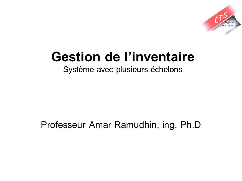 Gestion de linventaire Système avec plusieurs échelons Professeur Amar Ramudhin, ing. Ph.D