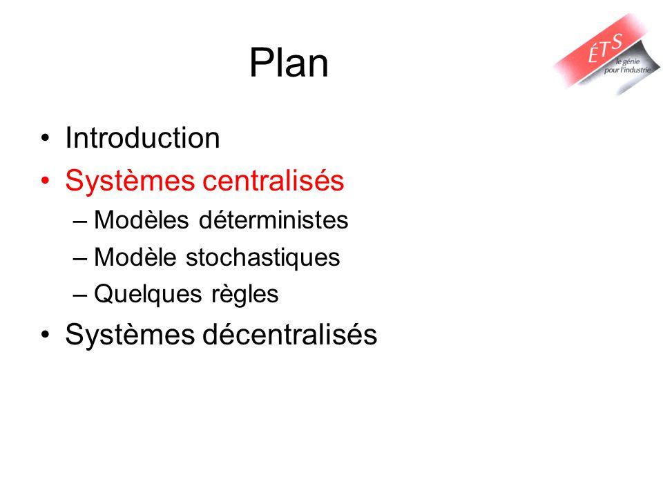 Plan Introduction Systèmes centralisés –Modèles déterministes –Modèle stochastiques –Quelques règles Systèmes décentralisés