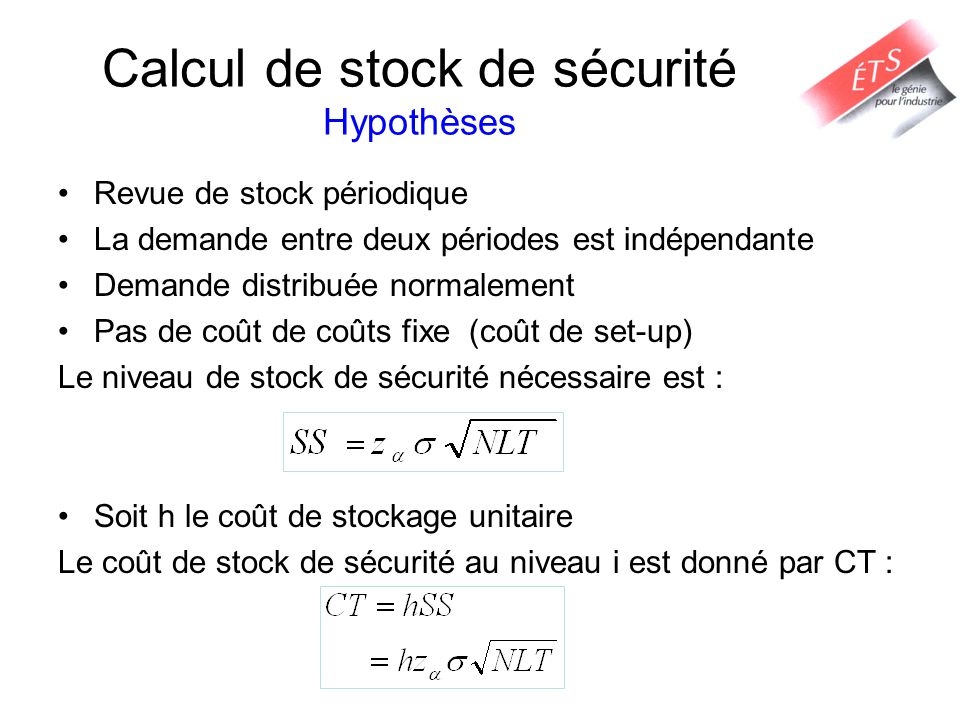 Calcul de stock de sécurité Hypothèses Revue de stock périodique La demande entre deux périodes est indépendante Demande distribuée normalement Pas de
