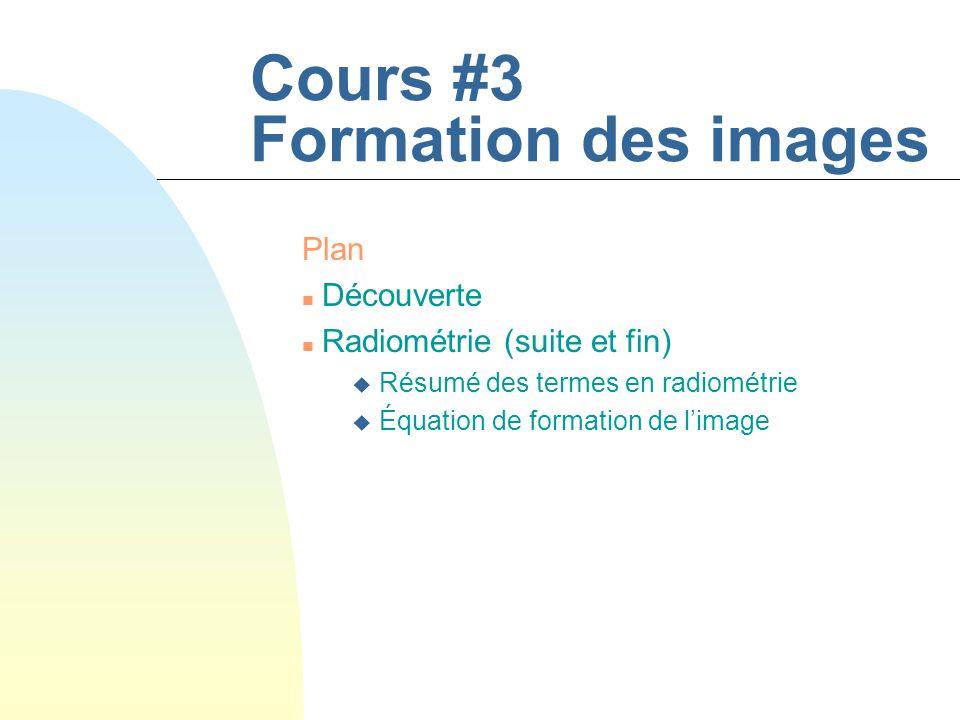 Cours #3 Formation des images Plan n Découverte n Radiométrie (suite et fin) u Résumé des termes en radiométrie u Équation de formation de limage