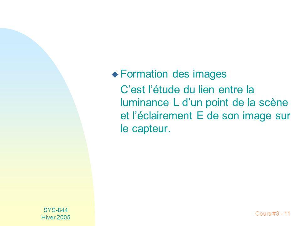SYS-844 Hiver 2005 Cours #3 - 11 u Formation des images Cest létude du lien entre la luminance L dun point de la scène et léclairement E de son image