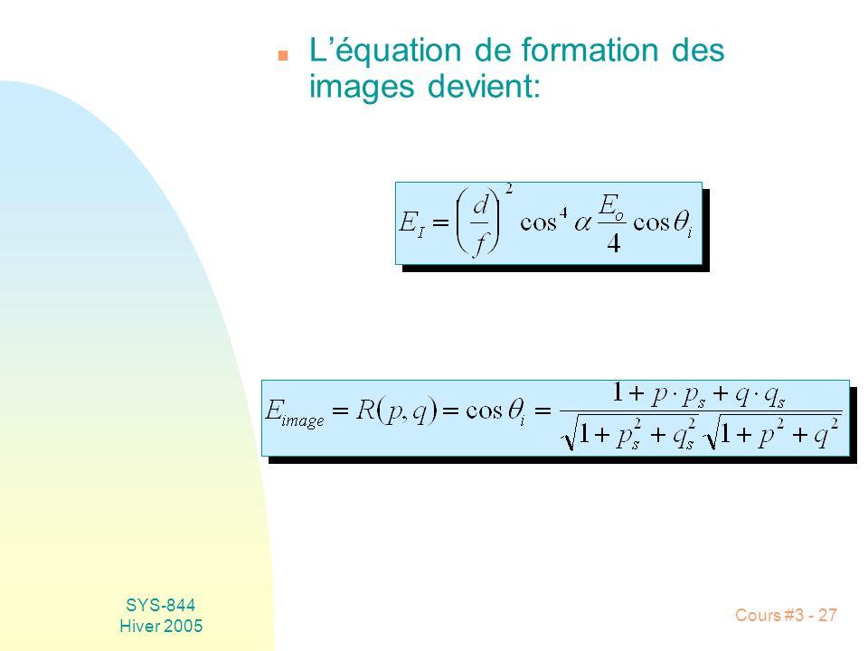SYS-844 Hiver 2005 Cours #3 - 27 n Léquation de formation des images devient: