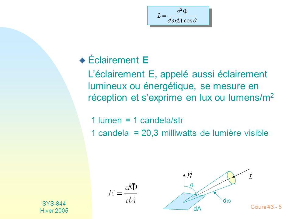 SYS-844 Hiver 2005 Cours #3 - 5 u Éclairement E Léclairement E, appelé aussi éclairement lumineux ou énergétique, se mesure en réception et sexprime e