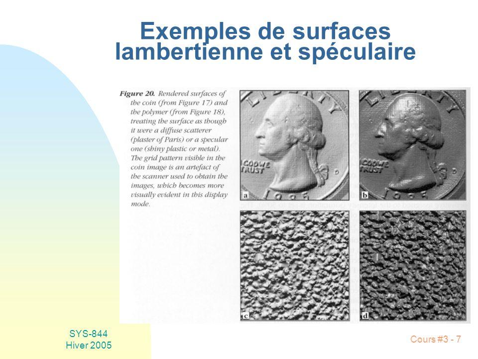 SYS-844 Hiver 2005 Cours #3 - 18 Équation de formation des images n Observations: u E L u E ne dépend pas de z (eg nuage, édifice, soleil, etc.)