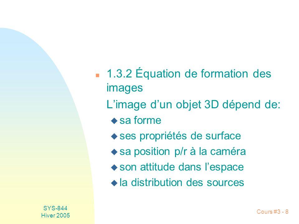 SYS-844 Hiver 2005 Cours #3 - 19 n Lutilisation est limitée au centre de la lentille (emploi dun iris mécanique): cos 4 1 pour «1 n Un mur de plâtre (surface lambertienne: L=cte) napparaît pas uniformément brillant Centre de la lentille E dépend fortement de langle entre laxe de la lentille et la source.