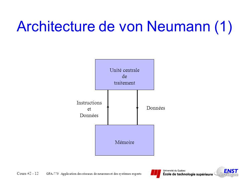 GPA-779 Application des réseaux de neurones et des systèmes experts Cours #2 - 12 Architecture de von Neumann (1) Unité centrale de traitement Mémoire