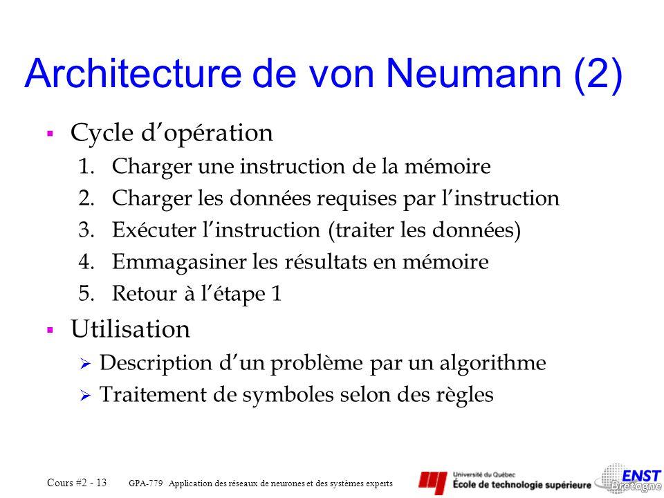 GPA-779 Application des réseaux de neurones et des systèmes experts Cours #2 - 13 Cycle dopération 1.Charger une instruction de la mémoire 2.Charger l