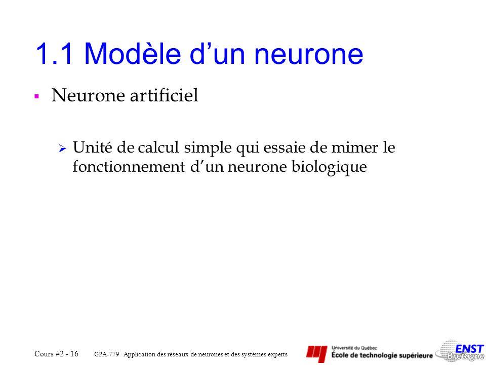 GPA-779 Application des réseaux de neurones et des systèmes experts Cours #2 - 16 1.1 Modèle dun neurone Neurone artificiel Unité de calcul simple qui