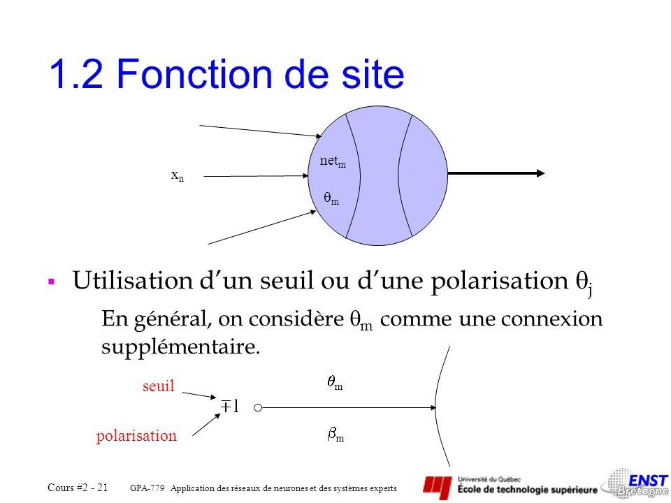 GPA-779 Application des réseaux de neurones et des systèmes experts Cours #2 - 21 1.2 Fonction de site Utilisation dun seuil ou dune polarisation j En