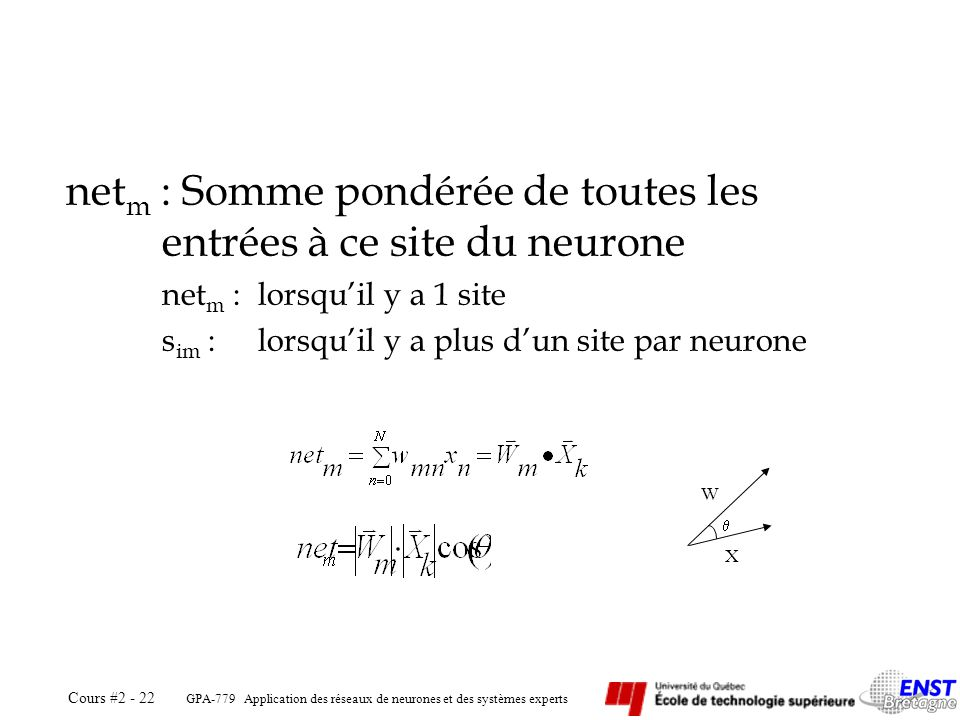 GPA-779 Application des réseaux de neurones et des systèmes experts Cours #2 - 22 net m : Somme pondérée de toutes les entrées à ce site du neurone ne
