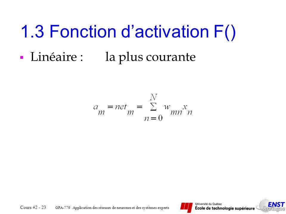 GPA-779 Application des réseaux de neurones et des systèmes experts Cours #2 - 23 1.3 Fonction dactivation F() Linéaire :la plus courante