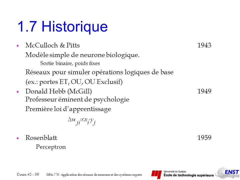 GPA-779 Application des réseaux de neurones et des systèmes experts Cours #2 - 39 1.7 Historique McCulloch & Pitts1943 Modèle simple de neurone biolog