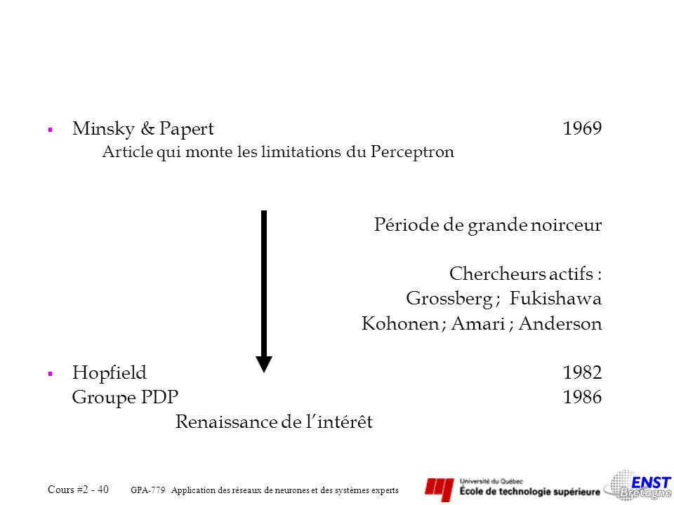 GPA-779 Application des réseaux de neurones et des systèmes experts Cours #2 - 40 Minsky & Papert1969 Article qui monte les limitations du Perceptron