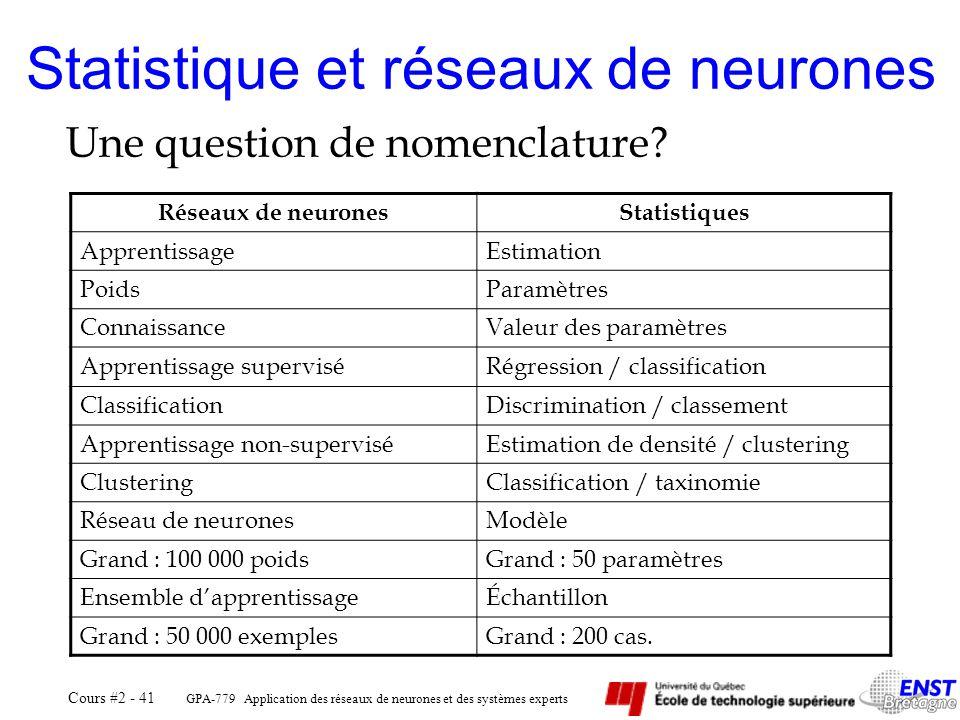 GPA-779 Application des réseaux de neurones et des systèmes experts Cours #2 - 41 Statistique et réseaux de neurones Une question de nomenclature? Rés