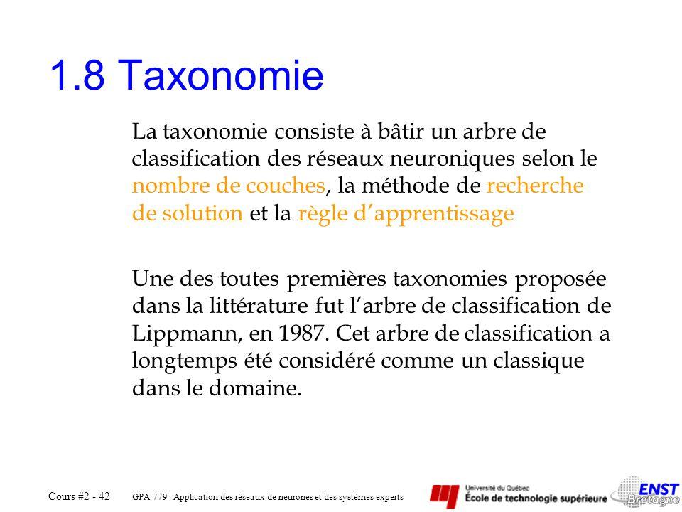 GPA-779 Application des réseaux de neurones et des systèmes experts Cours #2 - 42 1.8 Taxonomie La taxonomie consiste à bâtir un arbre de classificati
