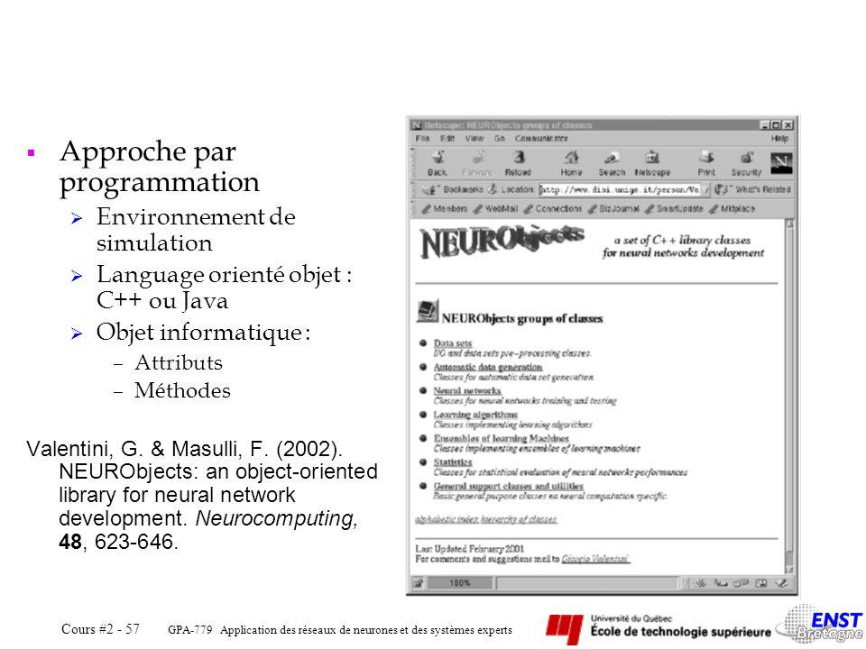 GPA-779 Application des réseaux de neurones et des systèmes experts Cours #2 - 57 Approche par programmation Environnement de simulation Language orie