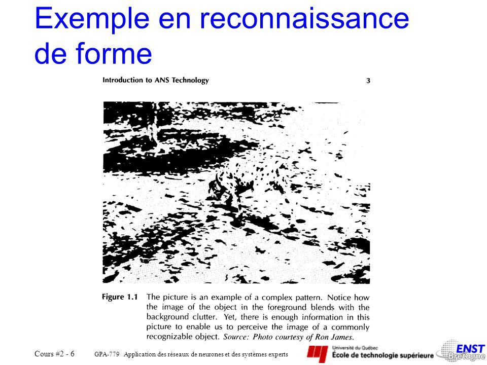 GPA-779 Application des réseaux de neurones et des systèmes experts Cours #2 - 6 Exemple en reconnaissance de forme