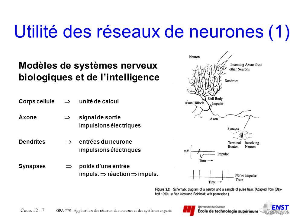 GPA-779 Application des réseaux de neurones et des systèmes experts Cours #2 - 7 Utilité des réseaux de neurones (1) Modèles de systèmes nerveux biolo