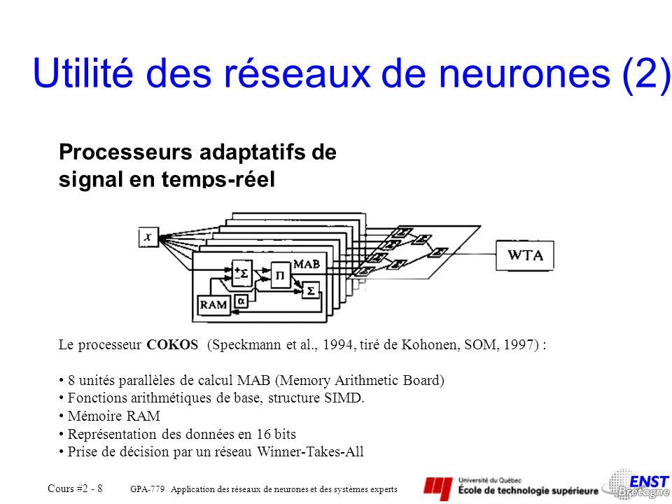 GPA-779 Application des réseaux de neurones et des systèmes experts Cours #2 - 8 Utilité des réseaux de neurones (2) Processeurs adaptatifs de signal