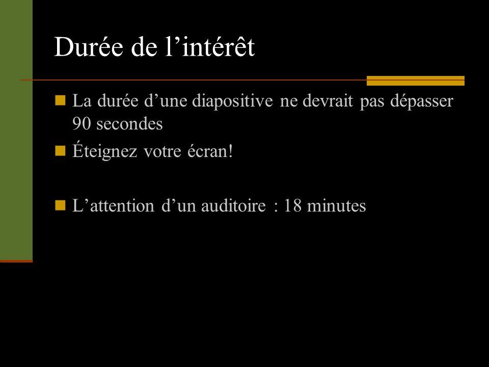 Durée de lintérêt La durée dune diapositive ne devrait pas dépasser 90 secondes Éteignez votre écran! Lattention dun auditoire : 18 minutes