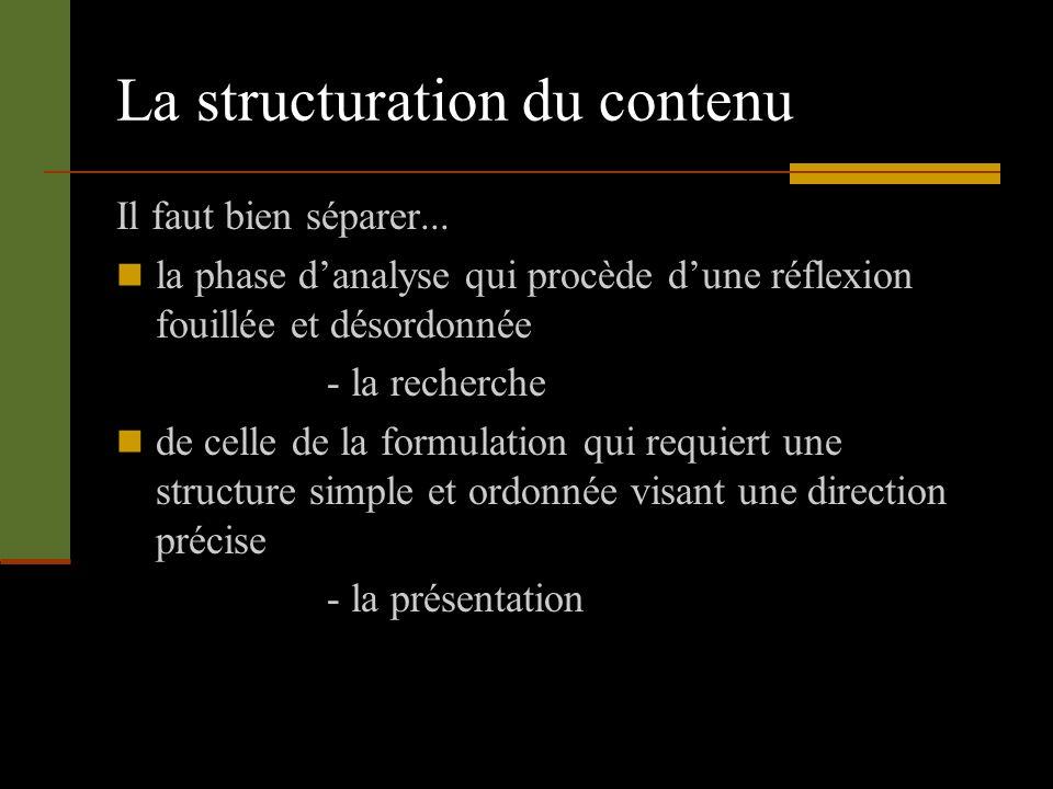 La structuration du contenu Il faut bien séparer... la phase danalyse qui procède dune réflexion fouillée et désordonnée - la recherche de celle de la