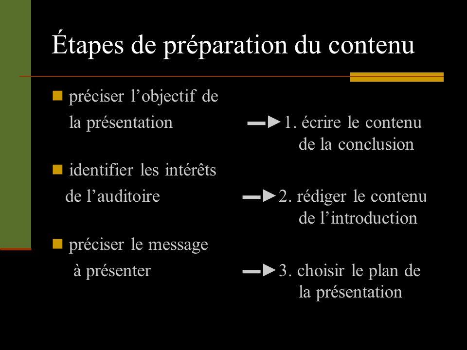 Étapes de préparation du contenu préciser lobjectif de la présentation 1. écrire le contenu de la conclusion identifier les intérêts de lauditoire 2.