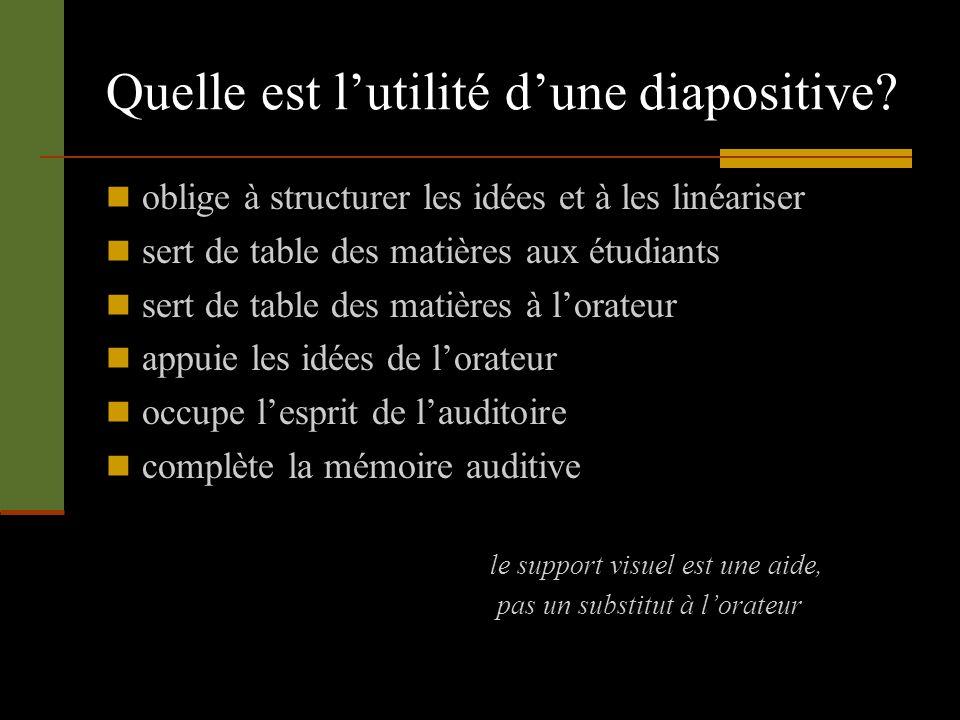 Quelle est lutilité dune diapositive? oblige à structurer les idées et à les linéariser sert de table des matières aux étudiants sert de table des mat