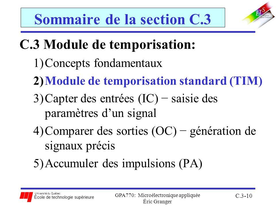 Université du Québec École de technologie supérieure GPA770: Microélectronique appliquée Éric Granger C.3-10 Sommaire de la section C.3 C.3 Module de