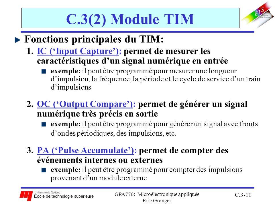 Université du Québec École de technologie supérieure GPA770: Microélectronique appliquée Éric Granger C.3-11 C.3(2) Module TIM Fonctions principales d