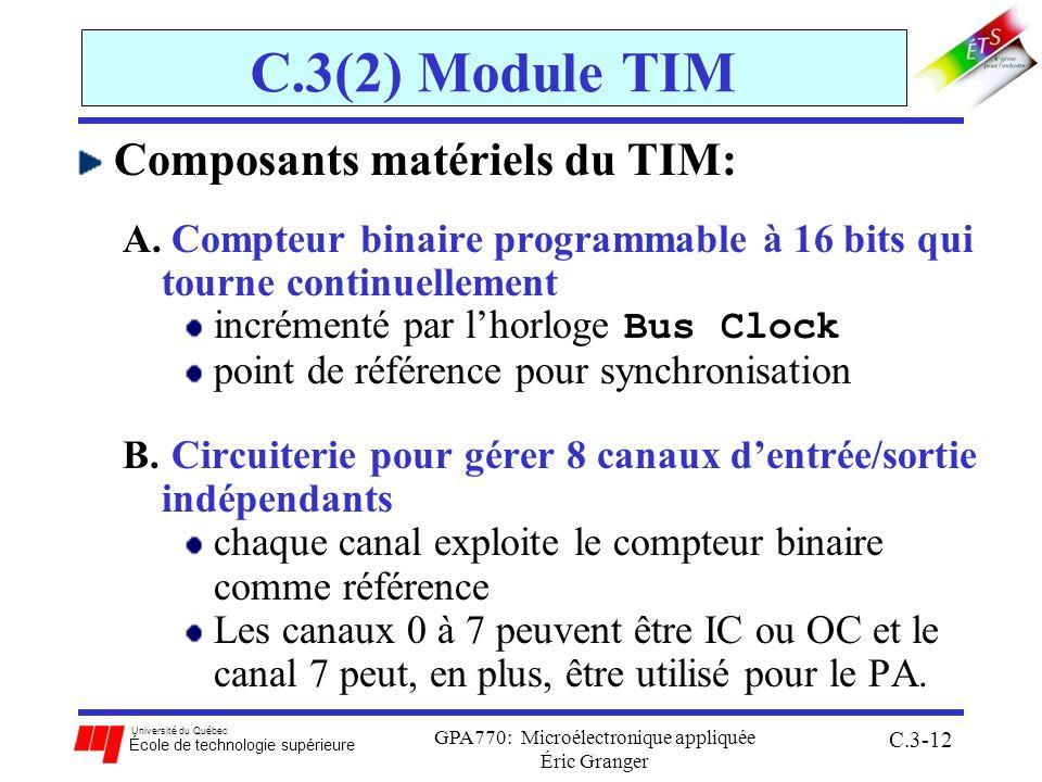 Université du Québec École de technologie supérieure GPA770: Microélectronique appliquée Éric Granger C.3-12 C.3(2) Module TIM Composants matériels du