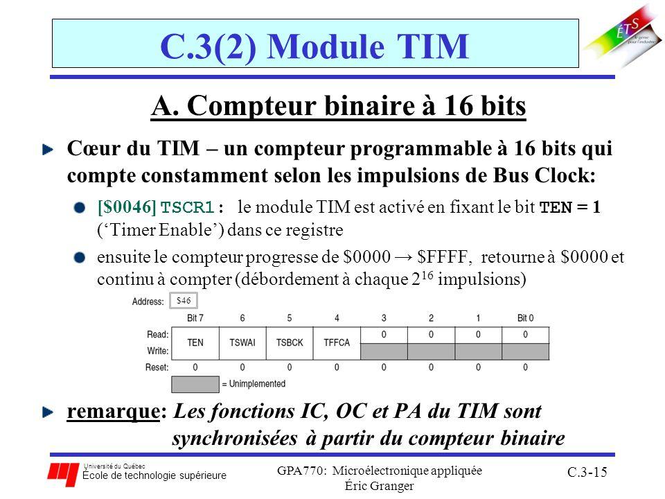Université du Québec École de technologie supérieure GPA770: Microélectronique appliquée Éric Granger C.3-15 C.3(2) Module TIM A. Compteur binaire à 1