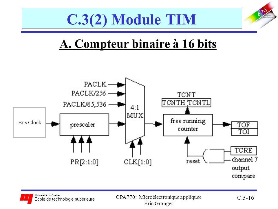 Université du Québec École de technologie supérieure GPA770: Microélectronique appliquée Éric Granger C.3-16 C.3(2) Module TIM A. Compteur binaire à 1