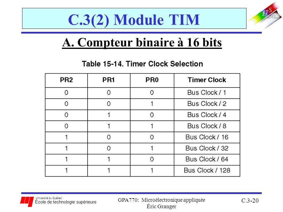 Université du Québec École de technologie supérieure GPA770: Microélectronique appliquée Éric Granger C.3-20 C.3(2) Module TIM A. Compteur binaire à 1