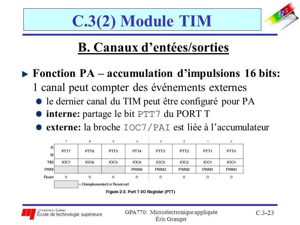 Université du Québec École de technologie supérieure GPA770: Microélectronique appliquée Éric Granger C.3-23 C.3(2) Module TIM B. Canaux dentées/sorti