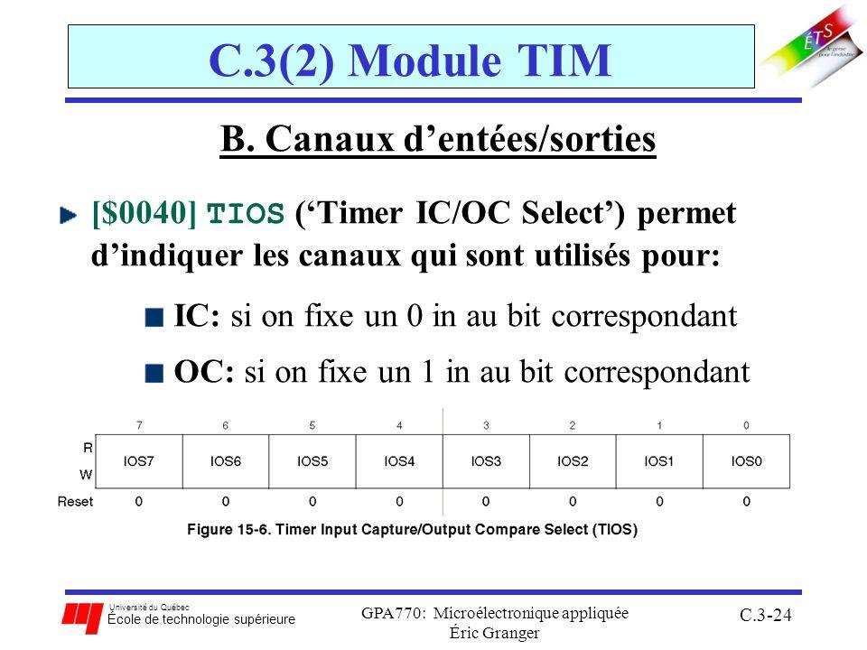 Université du Québec École de technologie supérieure GPA770: Microélectronique appliquée Éric Granger C.3-24 C.3(2) Module TIM B. Canaux dentées/sorti