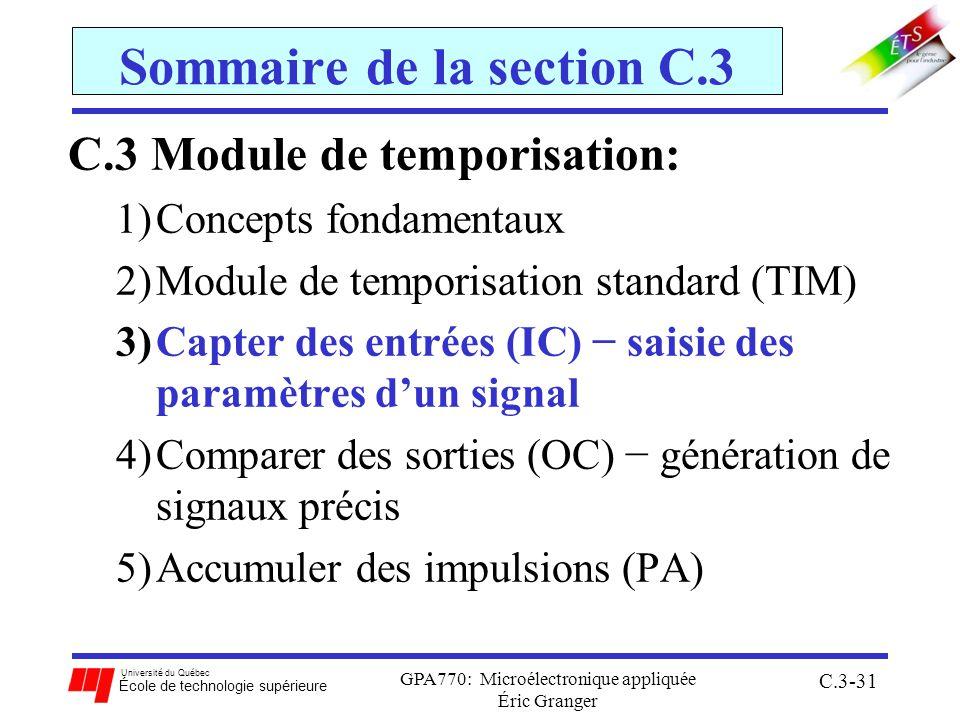 Université du Québec École de technologie supérieure GPA770: Microélectronique appliquée Éric Granger C.3-31 Sommaire de la section C.3 C.3 Module de