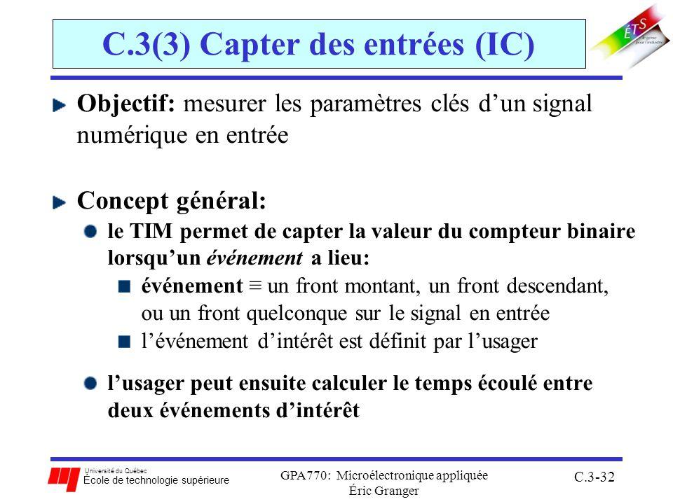 Université du Québec École de technologie supérieure GPA770: Microélectronique appliquée Éric Granger C.3-32 C.3(3) Capter des entrées (IC) Objectif: