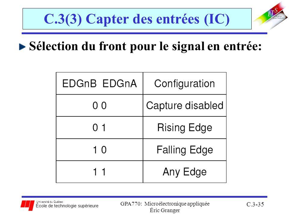 Université du Québec École de technologie supérieure GPA770: Microélectronique appliquée Éric Granger C.3-35 C.3(3) Capter des entrées (IC) Sélection