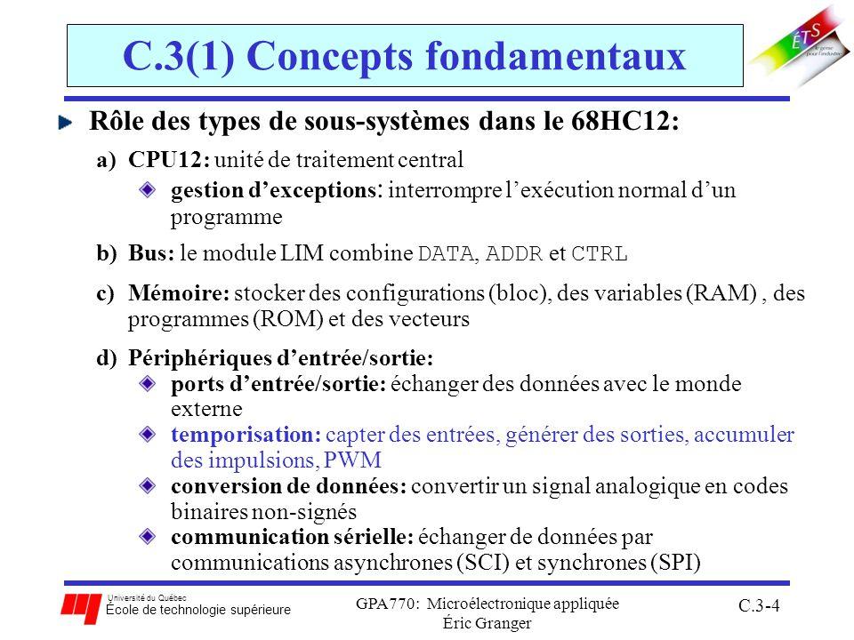 Université du Québec École de technologie supérieure GPA770: Microélectronique appliquée Éric Granger C.3-55 C.3(4) Comparer des sorties (OC) Processus général pour OC: 1.configurer le canal en mode OC ( TIOS ) 2.choisir le type de front désiré avec OMn:OLn ( TCTL1-2 ) 3.fixer les paramètres du compteur binaire ( TEN, PR[2:0] ) 4.calculer NI le nombre dincréments du compteur par T s (période du signal à générer): NI = f c / f s 5.avant chaque événement: stocker au registre TCn la valeur future de temps auquel on veut créer le front: a.accéder la valeur actuel de TCNT b.stocker la somme TCNT + α(%) * NI dans TCnH:L 6.après lévénement: effectuer une remise-à-zéro du CnF, en écrivant un 1 au bit correspondant de TFLG1