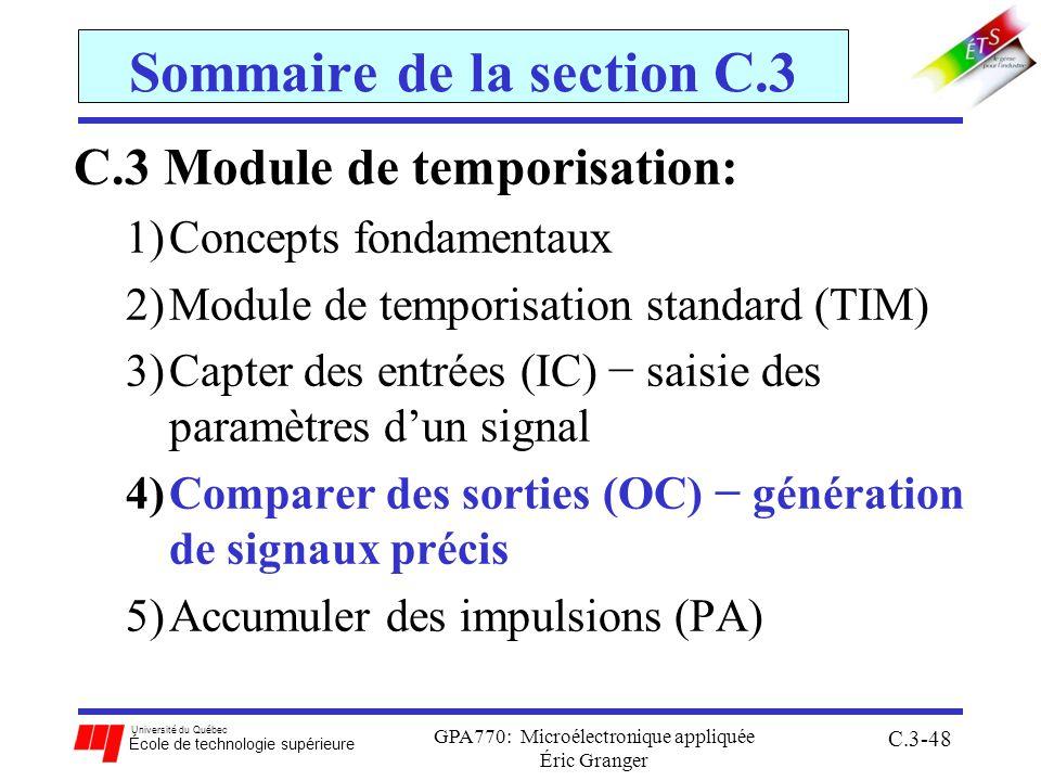 Université du Québec École de technologie supérieure GPA770: Microélectronique appliquée Éric Granger C.3-48 Sommaire de la section C.3 C.3 Module de